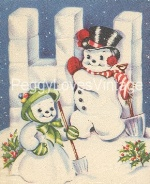 Vintage Snowman and lady hi image