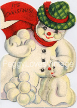 Vintage Snowman with snowballs image